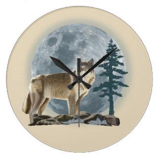 Wolf- und Mondentwurf für Uhr