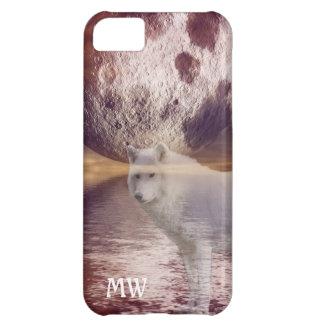 Wolf- und Mondphantasie gestalten intial iphone iPhone 5C Hülle
