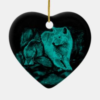Wolf und Rabe in der Nacht Keramik Herz-Ornament