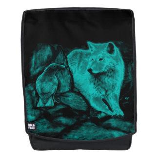 Wolf und Rabe in der Nacht Rucksack