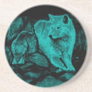 Wolf und Rabe in der Nacht Sandstein Untersetzer