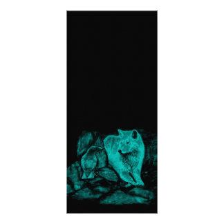 Wolf und Rabe in der Nacht Werbekarte
