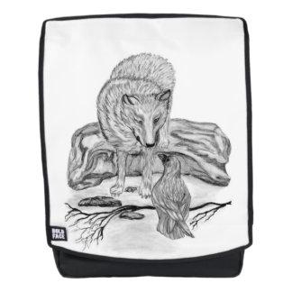 Wolf und Rabe - Schwarzweiss-Entwurf Rucksack