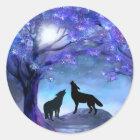 Wolf-Wolf-Tier-Tier-Blau-Aufkleber Runder Aufkleber