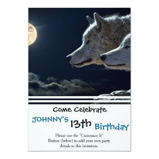 Wolf-Wölfe, die am Vollmond heulen 12,7 X 17,8 Cm Einladungskarte