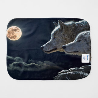 Wolf-Wölfe, die am Vollmond nachts heulen Spucktuch