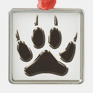 Wolfabdruck Silbernes Ornament