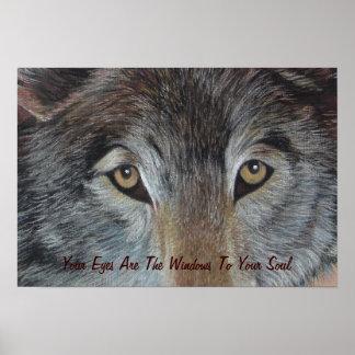 Wolfaugentier-Kunstmalerei mit Slogan Poster