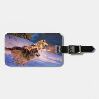 Wolfbraun - Schneewolf - zwei Wölfe Gepäckanhänger