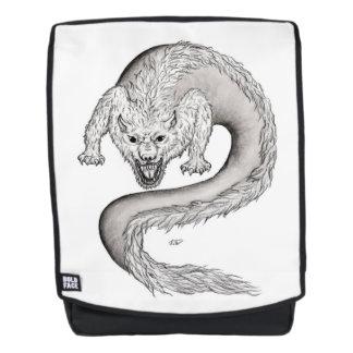 Wolfdragon Schwarzweiss-Entwurf in Tattoostyle Rucksack
