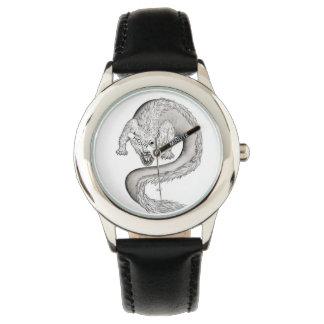 Wolfdragon Schwarzweiss-Entwurf Uhr