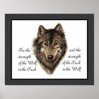 Wölfe, Aquarell-Wolf u. Satz-Zitat, Natur Poster