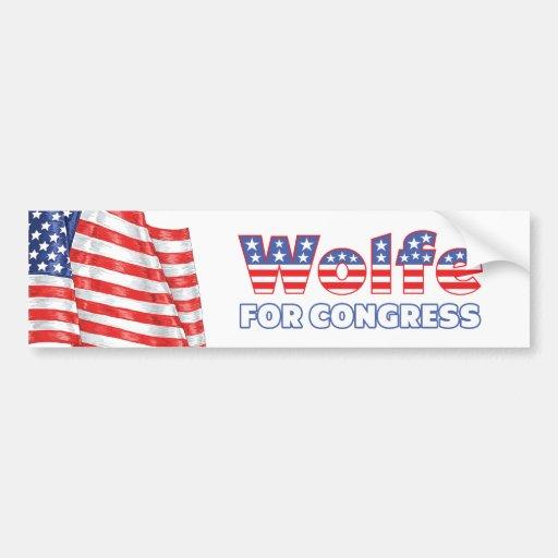 Wolfe für Kongress-patriotische amerikanische Flag Autoaufkleber