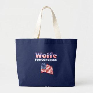 Wolfe für Kongress-patriotische amerikanische Flag Leinentasche