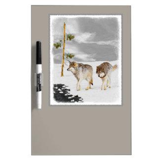 Wölfe in der Schnee-Malerei - ursprüngliche Trockenlöschtafel