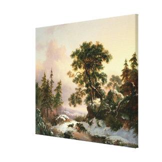 Wölfe in einer Winter-Landschaft (Öl auf Platte) Galerie Faltleinwand