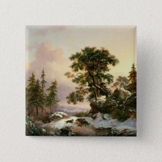 Wölfe in einer Winter-Landschaft (Öl auf Platte) Quadratischer Button 5,1 Cm