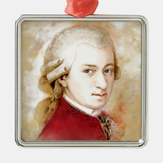 Wolfgang Amadeus Mozart im Aquarell Stil Silbernes Ornament
