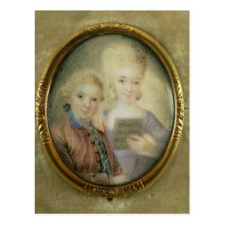 Wolfgang Amadeus Mozart und seine Schwester Postkarte