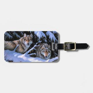 Wolfmalerei - zwei Wölfe - arktischer Wolf Kofferanhänger