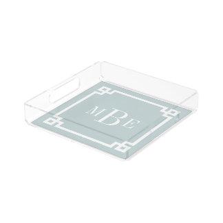 Wolken-blaues griechisches Schlüsselgrenzmonogramm Acryl Tablett