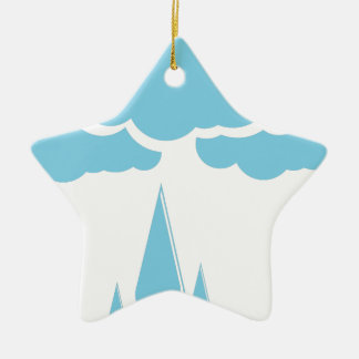 Wolken mit Nieselregen Keramik Ornament