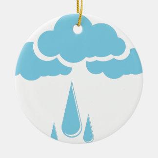 Wolken mit Nieselregen Rundes Keramik Ornament