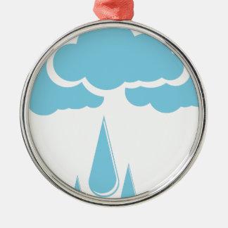 Wolken mit Nieselregen Rundes Silberfarbenes Ornament