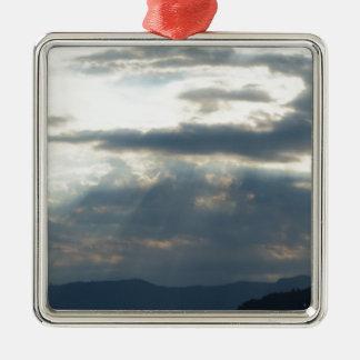 Wolken Quadratisches Silberfarbenes Ornament