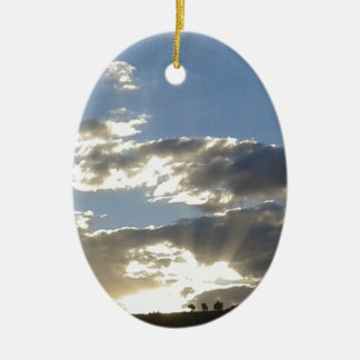 Wolken und Sun Keramik Ornament