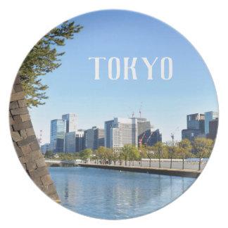 Wolkenkratzer in Tokyo, Japan Melaminteller