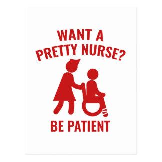 Wollen Sie eine hübsche Krankenschwester? Postkarte