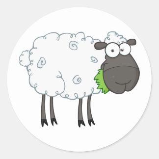 Wollige Schaf-Aufkleber Runder Aufkleber