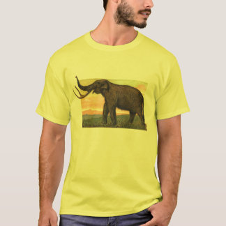 Wolliges Mammut-Antiken-Druck T-Shirt