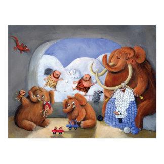 Wolliges Mammut-Familie in der Eiszeit Postkarte