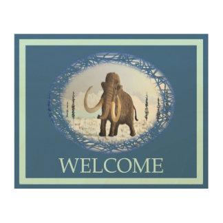 Wolliges Mammut - Willkommen Holzleinwand