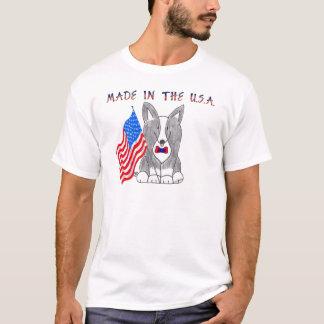 Wolljacken-Walisercorgi-Schwarzes gemacht im USA-T T-Shirt