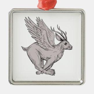 Wolpertinger laufendes Seitenzeichnen Silbernes Ornament