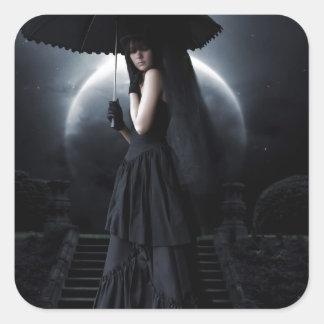 Women gothic moon quadratischer aufkleber