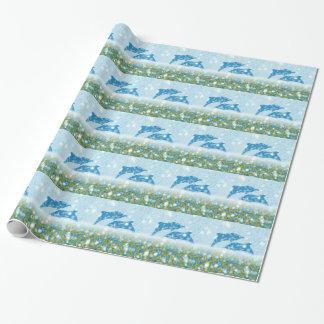 Wonderous Delphine im funkelnden mystischen Meer Geschenkpapier