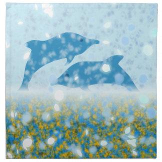 Wonderous Delphine im funkelnden mystischen Meer Stoffserviette
