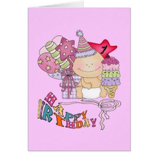 Wonky alles- Gute zum Geburtstagmädchen einjährig Karte