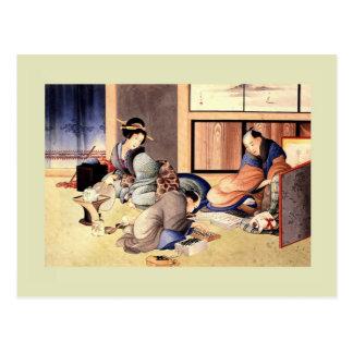 Woodblock Druck durch Katsushika Hokusai Postkarte
