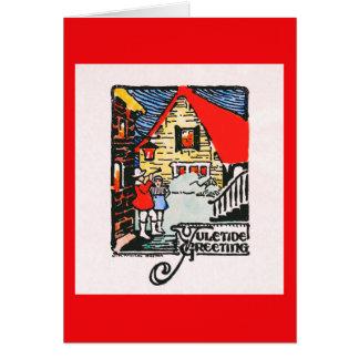 woodblock Weihnachtskarte 1926 Karte