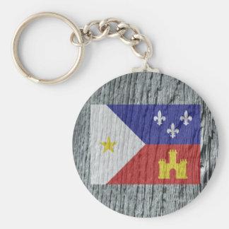 Woodgrain-Art akadische Cajun Flagge Keychain Schlüsselanhänger
