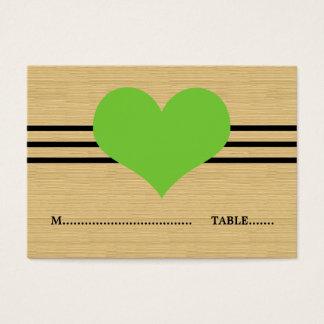 Woodgrain-Mod-Herz-Platzkarte, grün Visitenkarte
