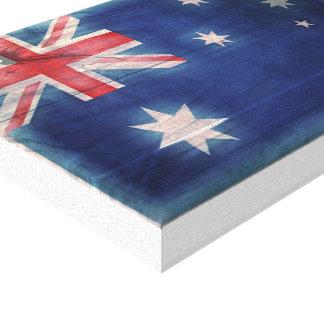 Woodgrain-Vintage australische Flagge auf Leinwand
