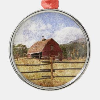 Woodgrain-Western-Land-Bauernhof-ursprüngliche Rundes Silberfarbenes Ornament