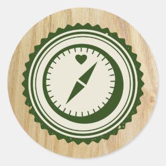 Woodsy Hochzeits-u. Glamping Kompass-Aufkleber