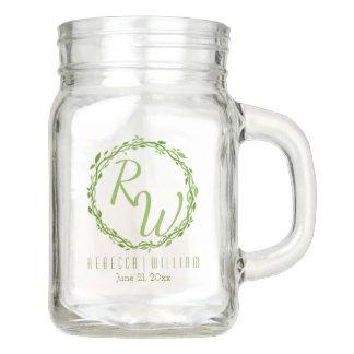 Woodsy Wedding Rebe-grünes Monogramm der Eleganz-  Einmachglas